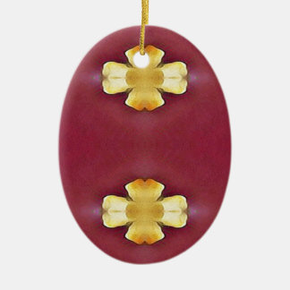 Pink Rose Yellow Modern Simplistic Pattern Ceramic Ornament