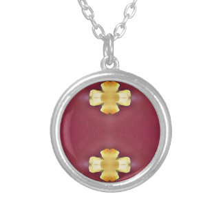 Pink Rose Yellow Modern Simplistic Pattern Silver Plated Necklace