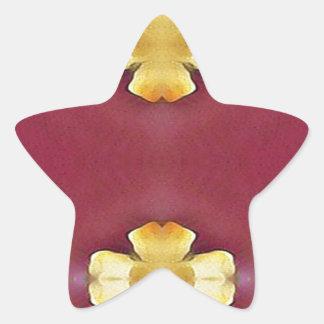 Pink Rose Yellow Modern Simplistic Pattern Star Sticker
