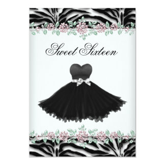 Pink Rose Zebra Sweet Sixteen Birthday Party 13 Cm X 18 Cm Invitation Card