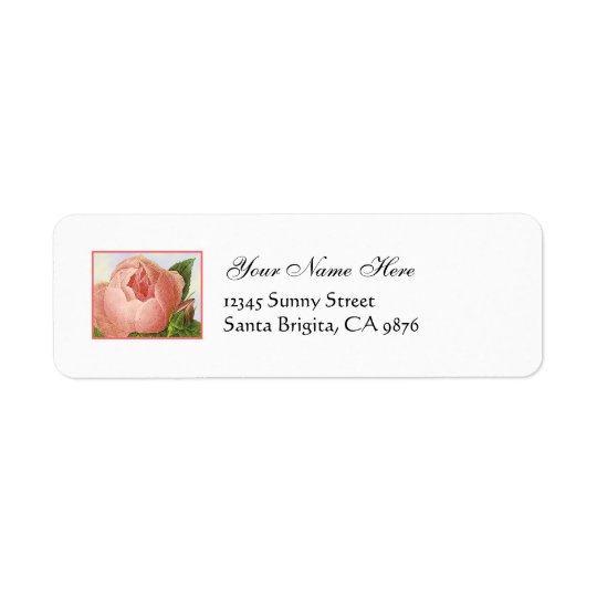 Pink Rosebud Vintage Custom Return Address Labels