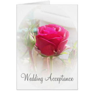 Pink Rosebud Wedding Acceptance Card