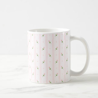 Pink Rosebuds and Stripes Coffee Mug