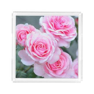 Pink roses acrylic tray