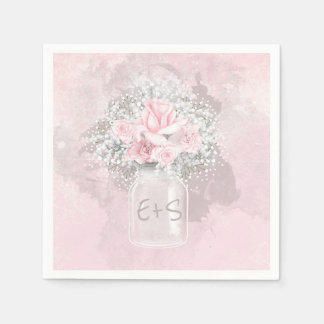 Pink Roses and Baby's Breath Wedding Disposable Napkin