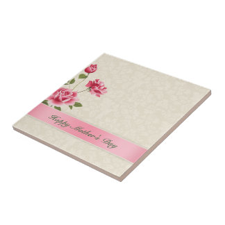 Pink Roses And Beige Damask- Happy Mothers's Day Small Square Tile