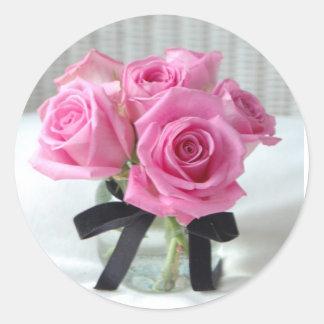 Pink Roses and Black Velvet Round Sticker
