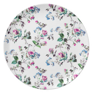 Pink Roses and Blue Flowers Floral Design Party Plate