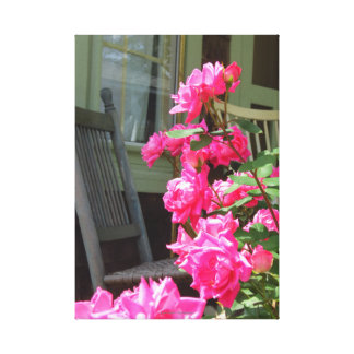 Pink Roses and Chair - Martha's Vineyard Cottage Canvas Print