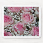 pink roses and gypsophila by Therosegarden Mouse Pad