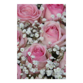pink roses and gypsophila by Therosegarden Stationery Design