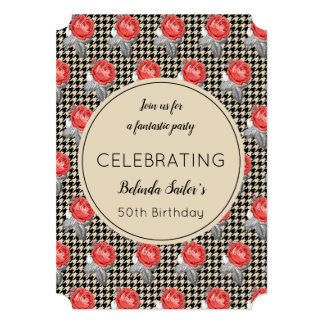 Pink Roses and houndstooth design Birthday Party Card
