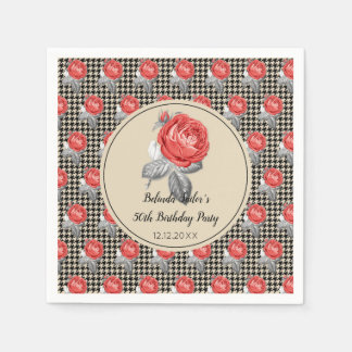 Pink roses and houndstooth design Birthday Party Disposable Napkins