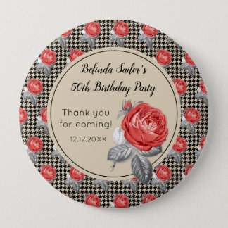 Pink roses and houndstooth Happy Birthday 10 Cm Round Badge