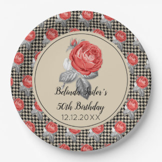 Pink roses and houndstooth Happy Birthday Paper Plate