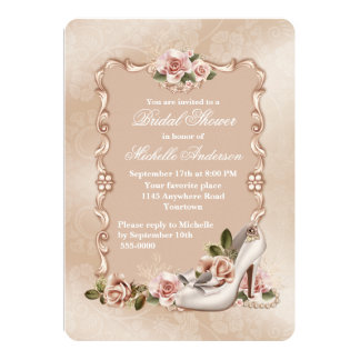 "Pink Roses and Ivory Shoe Bridal Shower 5"" X 7"" Invitation Card"