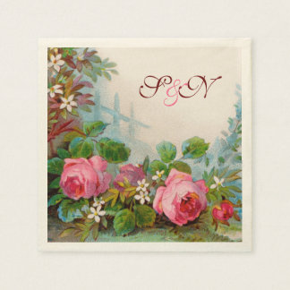 PINK ROSES AND JASMINES FLORAL WEDDING MONOGRAM DISPOSABLE NAPKIN