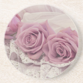 Pink Roses And Lace Still Life Coaster