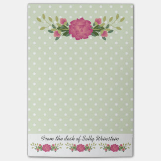 Pink roses and Polka Dots Post It Note Pad Post-it® Notes