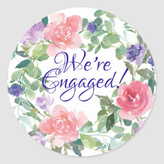 Pink Roses and Purple Flowers Engagement Sticker