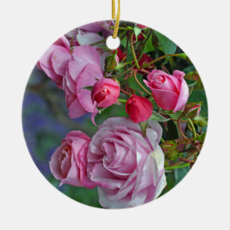 Pink roses and rosebuds round ceramic decoration