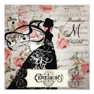 Pink Roses and Song Silhouette Bride Invitation
