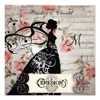 Pink Roses and Song Silhouette Bride Invite