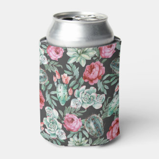 Pink Roses and Succulent Cactus Pattern on Black