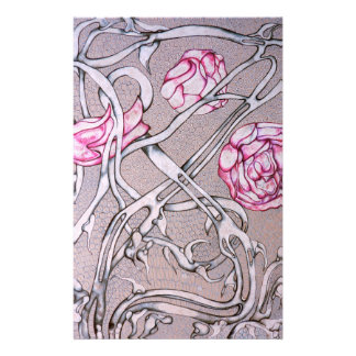 Pink Roses and Thorns Stationery Paper