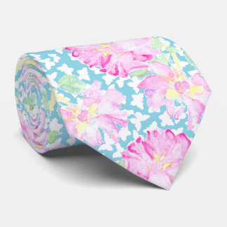 Pink Roses and White Butterflies on Turquoise Blue Tie
