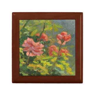 Pink Roses at Sunset Small Square Gift Box