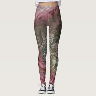 Pink roses at the cottage leggings
