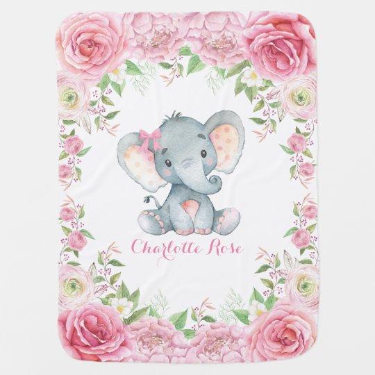 Pink Roses Baby Elephant Nursery Baby Blanket Zazzle Com Au