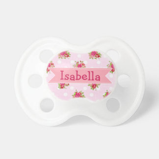 Pink Roses Baby Girl Name Pacifier Personalized