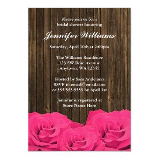 Pink Roses Barn Wood Bridal Shower 13 Cm X 18 Cm Invitation Card