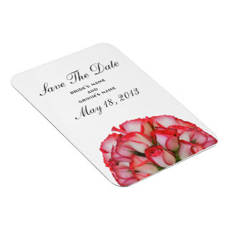 Pink Roses Barnwood Save The Date Magnet