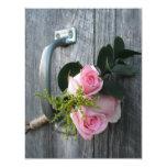 Pink Roses & Barnwood Wedding Invitation