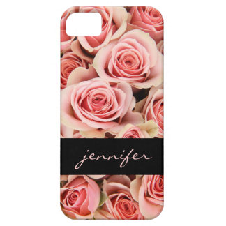 Pink Roses & Black, Personalized iPhone Case