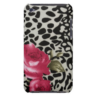 Pink Roses Black White Leopard Animal Design Barely There iPod Cover