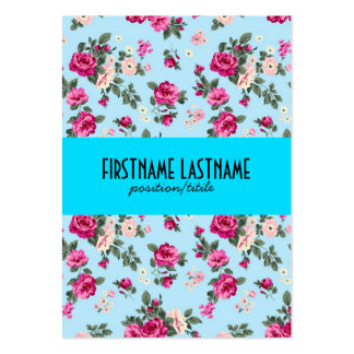 Pink Roses Blue Background Business Card Templates
