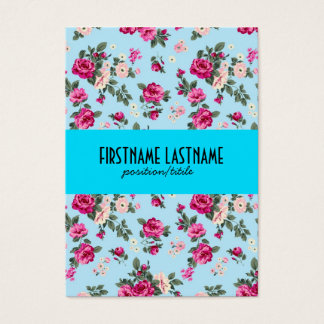Pink Roses Blue Background Business Card