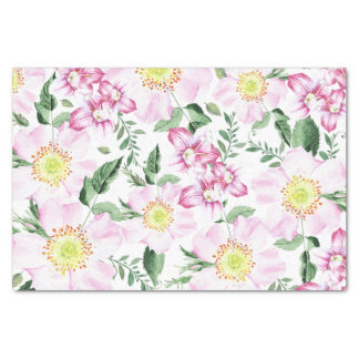 Pink Roses Boho Floral Watercolor Pattern Tissue Paper