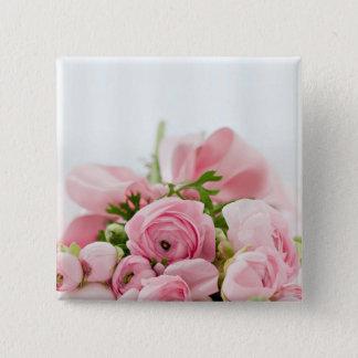 Pink Roses Bouquet 15 Cm Square Badge