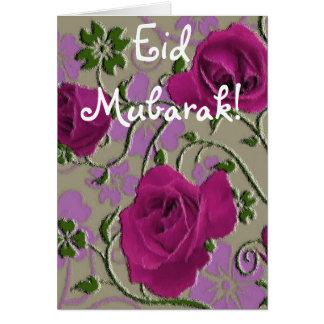 Pink roses bouquet Eid Mubarak Card