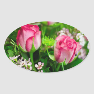 Pink Roses Bouquet Stickers