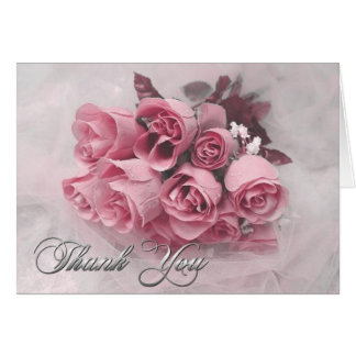 Pink Roses Bouquet Thank You Note Card