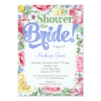 Pink Roses Bridal Shower Invitation Lilac Bouquet