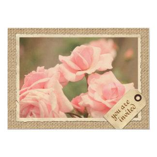 Pink Roses Burlap Travel Tag Vintage Paper Frame 13 Cm X 18 Cm Invitation Card