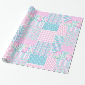Pink Roses, Butterflies: Faux Patchwork Giftwrap