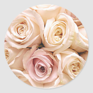 PINK ROSES by SHARON SHARPE Classic Round Sticker